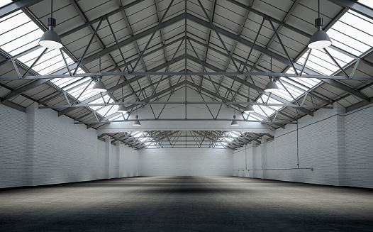 Agricultural Building「Front view of an empty large warehouse interior」:スマホ壁紙(19)