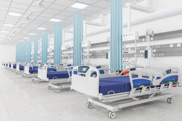 Empty beds in a hospital ward:スマホ壁紙(壁紙.com)