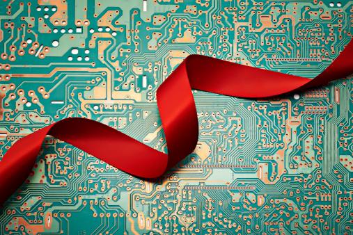 Circuit Board「Red ribbon on a computer circuit board」:スマホ壁紙(3)