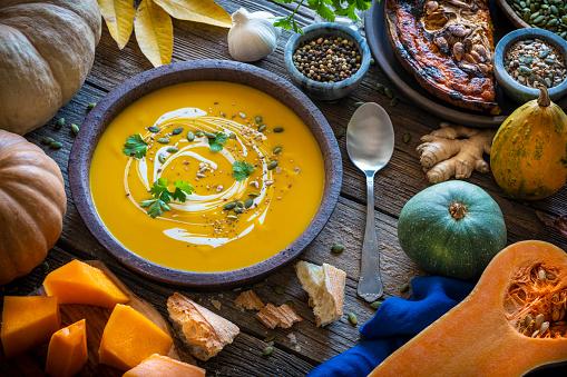 Recipe「Autumn pumpkin soup and ingredients on wood」:スマホ壁紙(0)