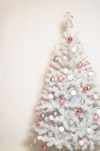 Part of a Series「White Christmas tree with baubles and angel on top」:スマホ壁紙(13)
