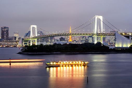 Tokyo Tower「Skyline of Tokyo illuminated at night with Rainbow bridge」:スマホ壁紙(14)