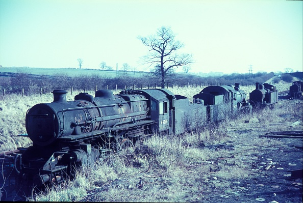 Branch - Plant Part「Cohen's Cransley scrapyard located on the former Midland Railway's ironstone branch from Kettering to Loddington. Waiting to be broken up are an ex LMS Ivatt Pig Class 2-6-0 No.43018」:写真・画像(3)[壁紙.com]