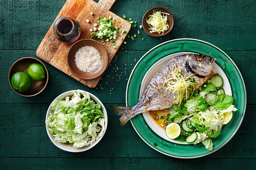 Side Dish「Grilled sea bream with vegetables」:スマホ壁紙(12)