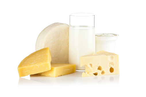 Swiss Cheese「Some dairy products shot on reflective white background」:スマホ壁紙(15)