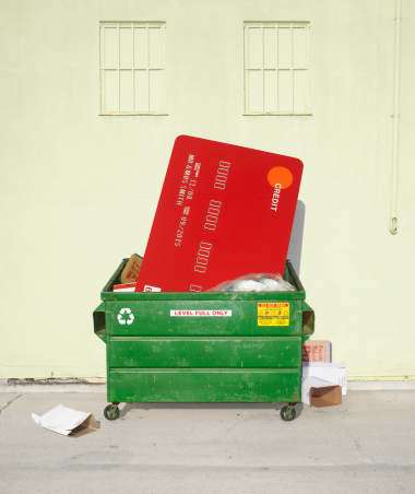 Emotional Stress「Oversized credit card stuffed in dumpster」:スマホ壁紙(16)