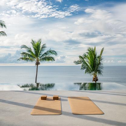 Thailand「Yoga Exercise Background, Palm Tree, Sunrise, Tropical」:スマホ壁紙(11)