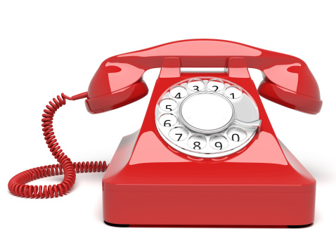 Cable「Red circle dial telephone on white background」:スマホ壁紙(3)