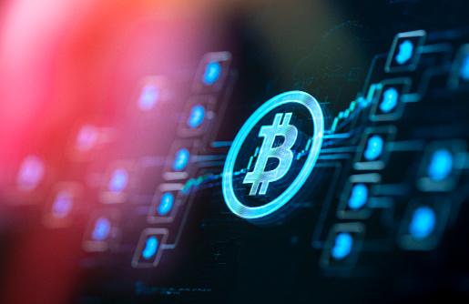 Internet of Things「Bitcoin concept on digital Screen」:スマホ壁紙(8)
