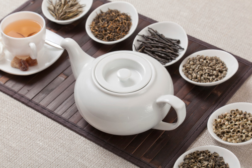 Individuality「Various kinds of tea with cup and teapot」:スマホ壁紙(1)