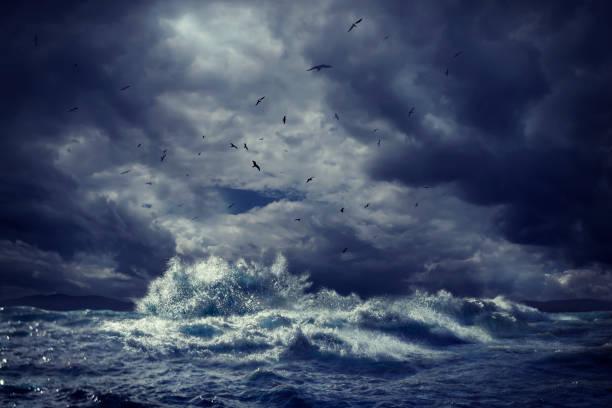 Birds flying over rough ocean waves:スマホ壁紙(壁紙.com)