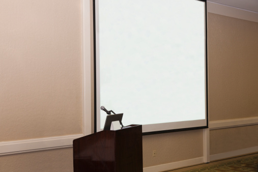 Projection Equipment「Projection screen and podium in conference room」:スマホ壁紙(3)