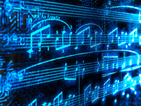 Circuit Board「Blue glowing music notes isolated on black background」:スマホ壁紙(12)