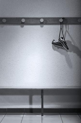 Shoe「Football boots hanging in change room (B&W)」:スマホ壁紙(13)