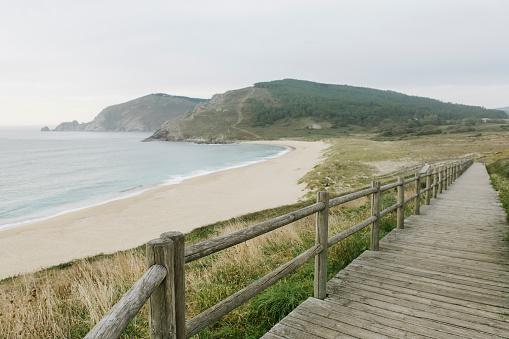 Footbridge「Spain, Galicia, View of the beach with boardwalk」:スマホ壁紙(2)