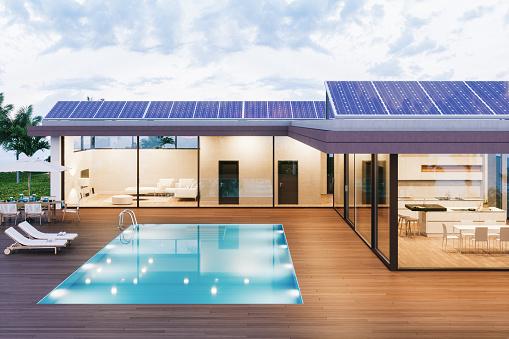 Solar Energy「Luxury Villa With Solar Panels」:スマホ壁紙(12)