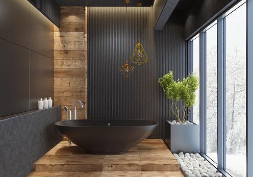 Luxury Hotel「Luxury villa minimalist black bathroom」:スマホ壁紙(10)