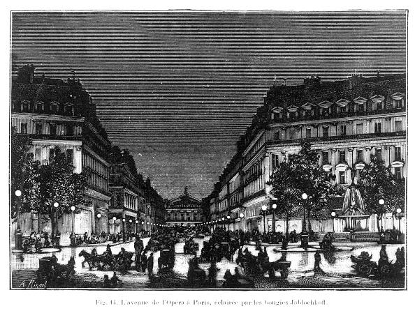 Street Light「LAvenue de lOpera, Paris, lit by Jablochkoff candles, c 1876.」:写真・画像(19)[壁紙.com]