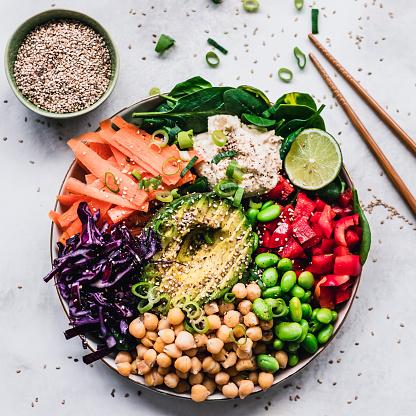 Veganism「Rainbow colored fruit and vegetable lunch bowl」:スマホ壁紙(14)
