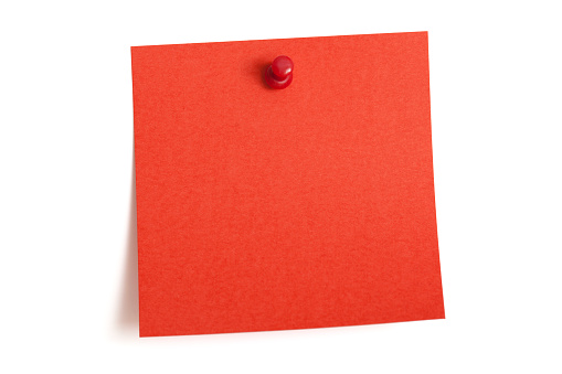 Adhesive Note「A square blank red note is pinned to a white wall」:スマホ壁紙(2)