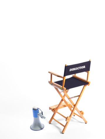 Arts Culture and Entertainment「Directors chair and megaphone on white background.」:スマホ壁紙(12)