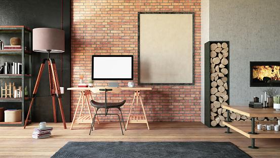 Digital Tablet「Cozy Workspace with Fireplace」:スマホ壁紙(17)