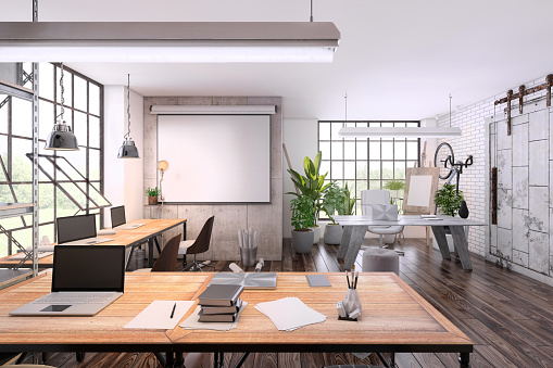 Studio Apartment「Small office interior  with large office desk」:スマホ壁紙(13)