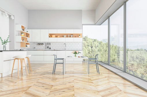 House「Modern kitchen and kitchen interior with nature view」:スマホ壁紙(14)
