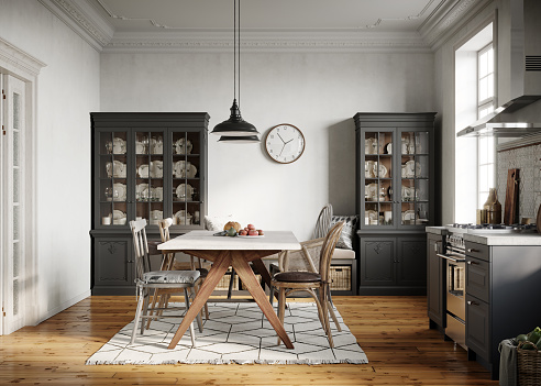 Domestic Kitchen「Modern kitchen with dining room」:スマホ壁紙(6)