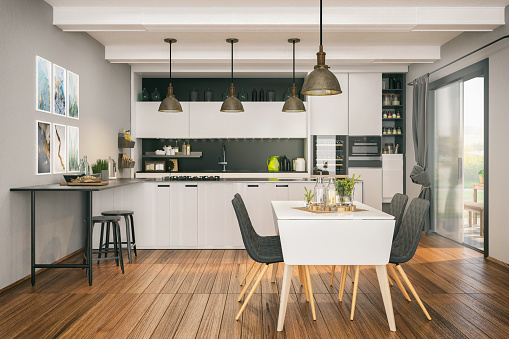 Preparing Food「Modern kitchen with Dining area」:スマホ壁紙(10)
