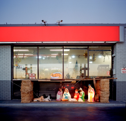 Christmas Lights「Christian nativity in front of store」:スマホ壁紙(13)