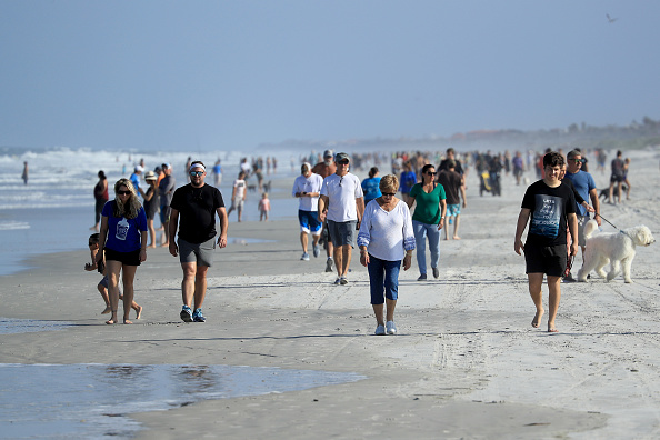 Crowd of People「Jacksonville, Florida Re-Opens Beaches After Decrease In COVID-19 Cases」:写真・画像(6)[壁紙.com]