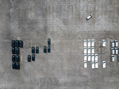 Side By Side「Indonesia, Bali, Aerial view of car park」:スマホ壁紙(10)