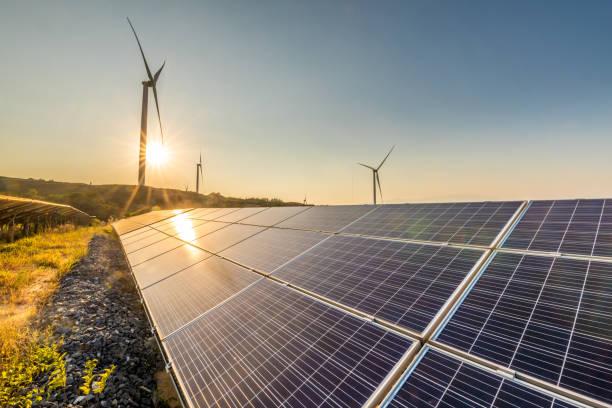 Solar energy and wind power stations:スマホ壁紙(壁紙.com)