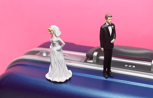 Married「Divorce honeymoon couple on suitcase」:スマホ壁紙(12)