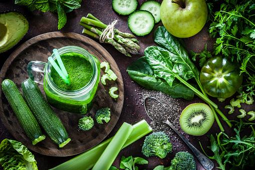 Vegetarian Food「Detox diet concept: green vegetables on rustic table」:スマホ壁紙(11)