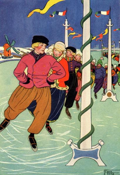 1900「Dutch children skating in a long line」:写真・画像(18)[壁紙.com]