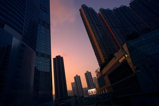 Pursuit - Concept「Modern Hong Kong cityscape with billboard display at sunset」:スマホ壁紙(8)