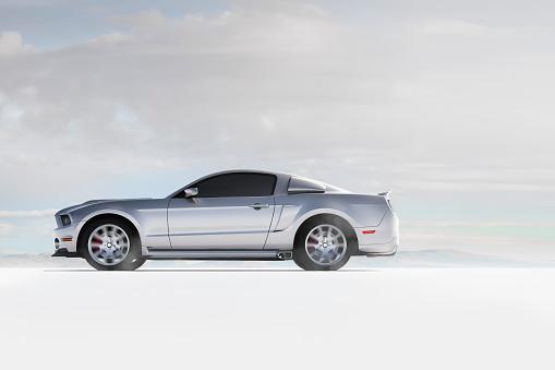 Side View「Silver sports car in white landscape」:スマホ壁紙(10)