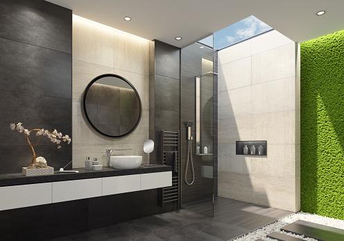Limestone「Luxury bathroom with innovative green moss wall and a skylight」:スマホ壁紙(18)