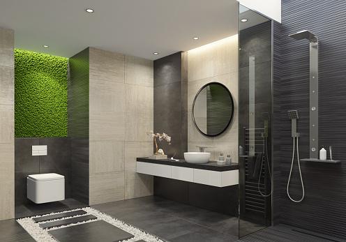 Limestone「Luxury bathroom with innovative green moss wall」:スマホ壁紙(1)