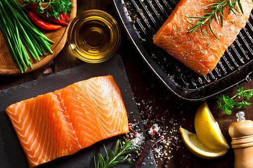 Salmon - Seafood「Raw salmon steak」:スマホ壁紙(7)