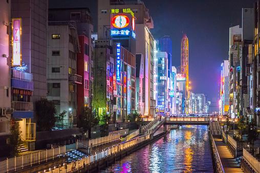 Alley「Osaka Dotonbori canal illuminated neon billboards night city skyline Japan」:スマホ壁紙(4)