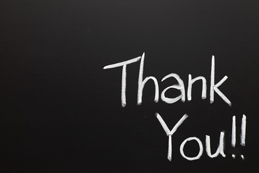 Writing「Thank you wrote on a chalk board」:スマホ壁紙(9)