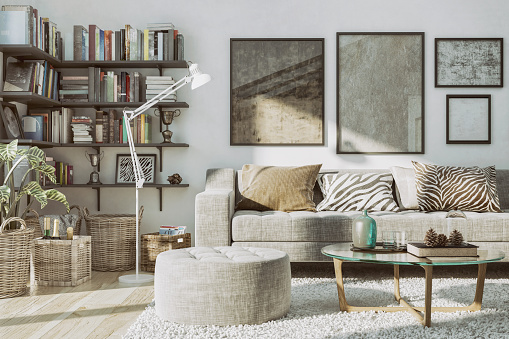 Wallpaper - Decor「Home Library and Cozy Sofa」:スマホ壁紙(0)