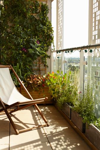 Deck Chair「A small balcony garden with deck chair」:スマホ壁紙(4)