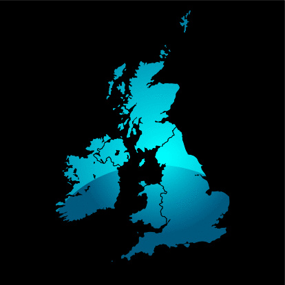 Northern Ireland「Blue map of the uk divided in two with a shadow and black background」:スマホ壁紙(7)