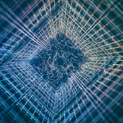 Big Data「Abstract grid background」:スマホ壁紙(11)