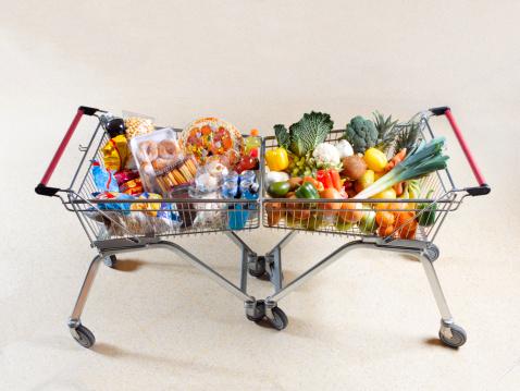 Consumerism「Healthy vs unhealthy shopping trolleys」:スマホ壁紙(1)