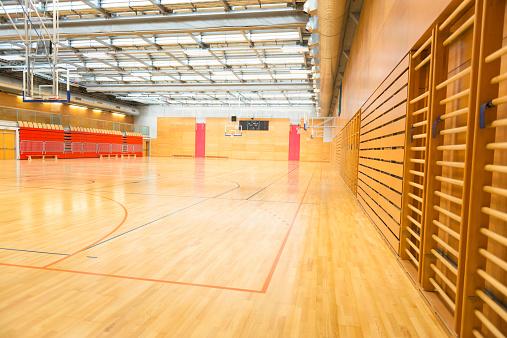 Wall Bars「Big Empty Sports Hall, Basketball Court, Metal Roof, Europe」:スマホ壁紙(1)